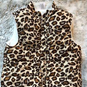Girls cheetah print faux fur & puffer winter vest